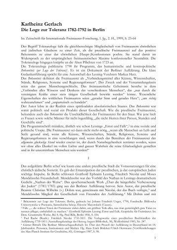 Karlheinz Gerlach Die Loge zur Toleranz 1782-1792 in Berlin