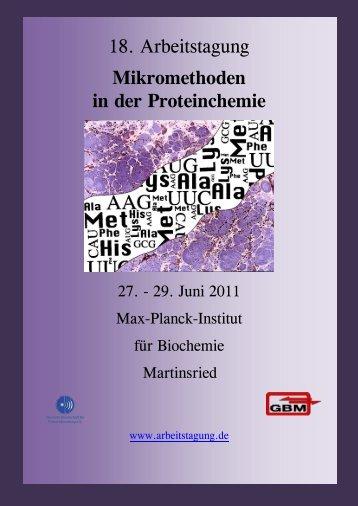 18. Arbeitstagung Mikromethoden in der Proteinchemie