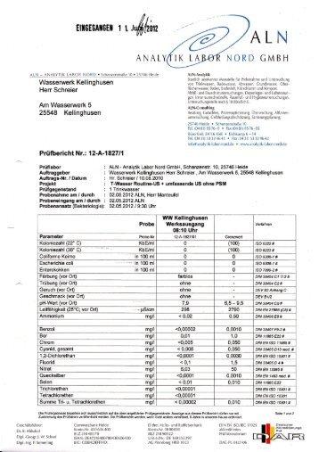 Trinkwasseranalyse - Kellinghusen