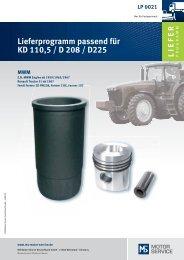 Lieferprogramm passend für KD 110,5 / D 208 - MS Motor Service ...