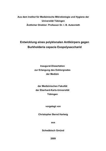 Hartwig, Christopher Dissertation - TOBIAS-lib - Universität Tübingen