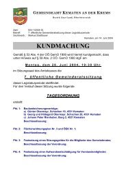KUNDMACHUNG - Kematen an der Krems - Land Oberösterreich