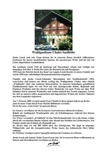 Beilagen nach Wahl - Waldgasthaus Chalet Saalhöhe