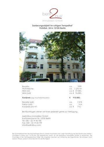 Sanierungsobjekt im ruhigen Tempelhof Prühßstr. 24 in ... - berlin2buy