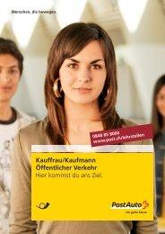 Broschüre Kauffrau/Kaufmann öVLink wird in einem - Postauto