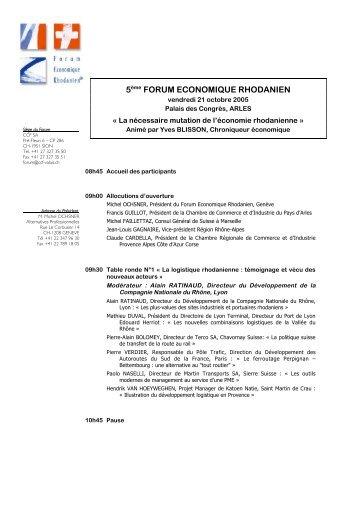 5ème FORUM ECONOMIQUE RHODANIEN - CCF SA
