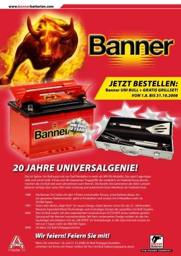 20 Jahre Universalgenie! - Banner Batteries