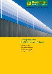 Lieferprogramm Profilbleche und Zubehör - Kemmler Industriebau