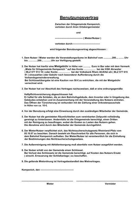 Formular Mietvertrag Bahnhof Gemeinde Kempenich