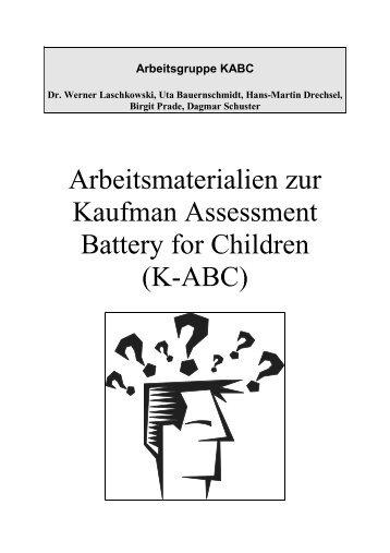 Arbeitsmaterialien zur Kaufman Assessment Battery ... - SFZ-Erlangen