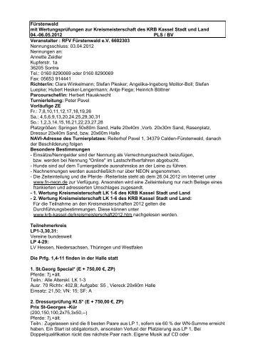 06.05.2012 PLS / BV Veranstalter - Meldestelle Zeidler