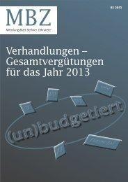 MBZ Ausgabe 02/2013 - Zahnärztekammer Berlin