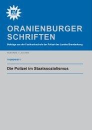 Oranienburger Schriften - Polizei Brandenburg - Brandenburg.de