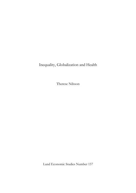 Inequality, Globalization and Health - Lunds universitet