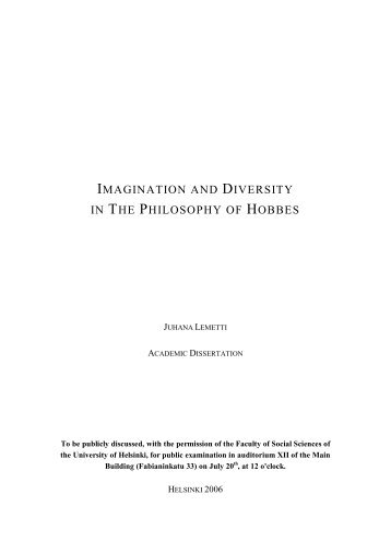 Imagination and diversity in the philosophy of Hobbes - E-thesis ...