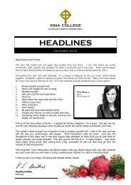 Headlines December 2012 - Iona College - Havelock North