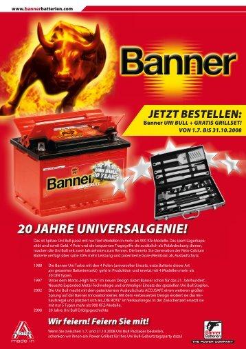 20 JAHRE UNIVERSALGENIE! - Banner Batterien