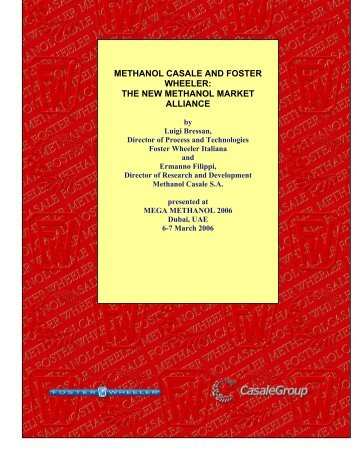 METHANOL CASALE AND FOSTER WHEELER: THE NEW ...