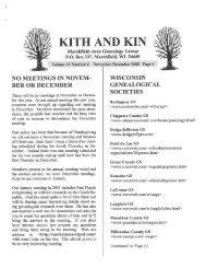 NO MEETINGS IN NOVEM - Marshfield Area Genealogy Group
