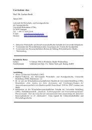 Curriculum vitae Prof. Dr. Jochen Streb - Lehrstuhl für Wirtschafts ...