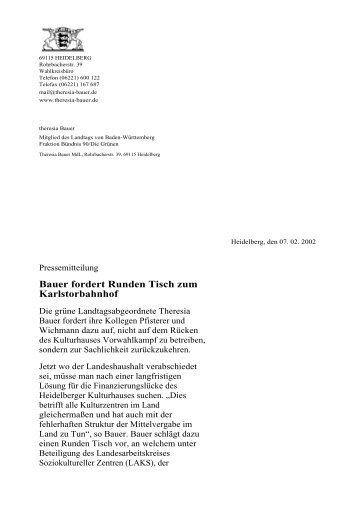 Bauer fordert Runden Tisch zum Karlstorbahnhof - Theresia Bauer