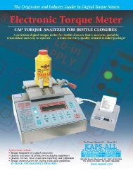Electronic Torque Meter - Kapsall Packaging Systems Inc
