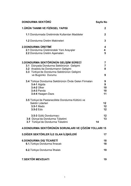 DONDURMA SEKTÖRÜ Sayfa No 1.ÜRÜN TANIMI VE ... - ITO