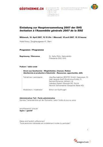 Einladung und Traktandenliste - pdf - Geothermie.ch