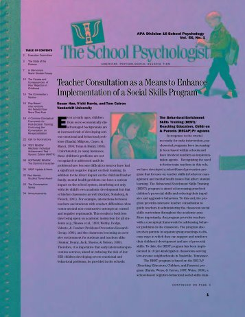 The School Psychologist - APA Divisions