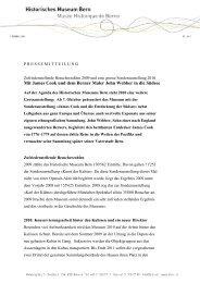 Jahresmedienorientierung: Mit James Cook und dem Berner Maler