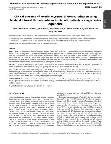 Clinical outcome of arterial myocardial revascularization using ...