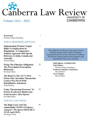 Volume 11, Issue 1 - University of Canberra