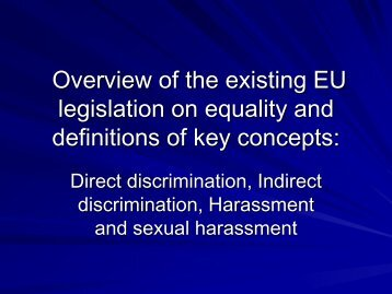 Overview of the existing EU legislation on equality