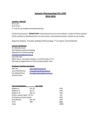 Draft 2012-2013 Course Syllabus - Pharmacology and Toxicology at ...