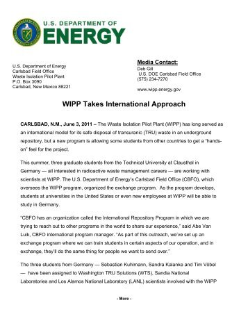 WIPP Takes International Approach - Waste Isolation Pilot Plant ...