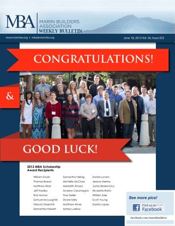 CONGRATULATIONS! GOOD LUCK! - Marin Builders Association