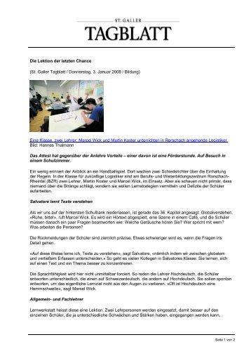 Die Lektion der letzten Chance - Berufs- und Weiterbildungszentrum ...