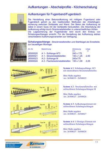 Aufkantungen – Abschalprofile – Köcherschalung - kettlein.de