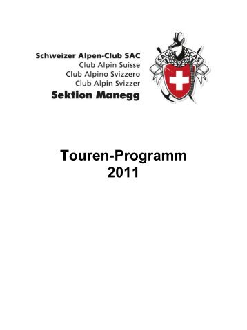Tourenprogramm 2011 - SAC Sektion Manegg
