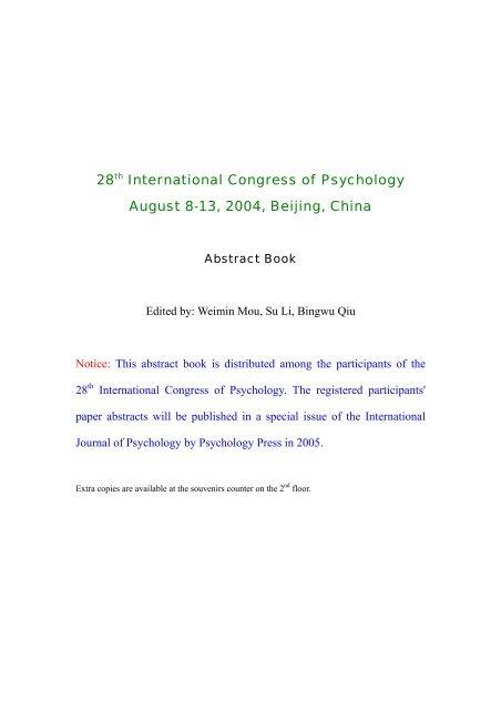 28th International Congress of Psychology August 8 ... - U ... on mechanical views, sociocultural views, biological views, psychology and world views,