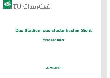 Das Studium aus studentischer Sicht - TU Clausthal