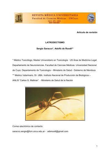 Latrodectismo revision - Universidad Nacional de Cuyo
