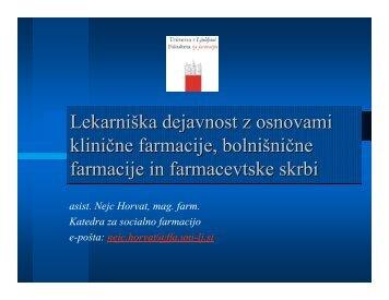 Lekarniška dejavnost z osnovami klinične farmacije, bolnišnične ...