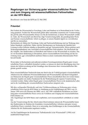 Richtlinien zur Sicherung guter wissenschaftlicher Praxis