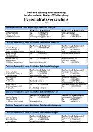 Personalratsverzeichnis - VBE Baden-Württemberg