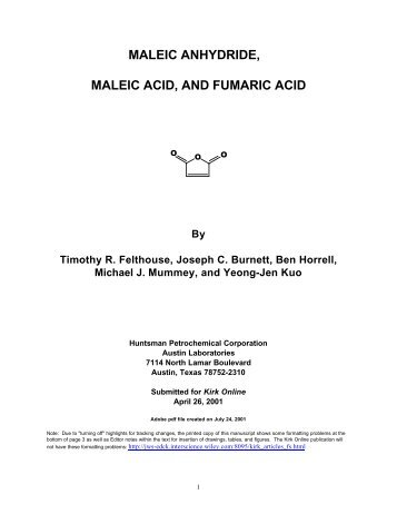 MALEIC ANHYDRIDE, MALEIC ACID, AND FUMARIC ACID