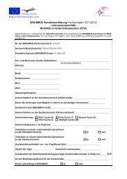 ERASMUS Annahmeerklärung Hochschuljahr 2011/2012 ...