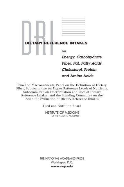 Dietary Reference Intakes Energy Carbohydrate Fiber Fat