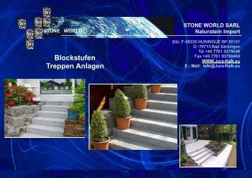 Blockstufen und Treppen - STONE WORLD Jura Kalk Natursteinshop