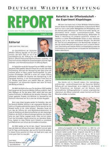 Report der Deutschen Wildtier Stiftung 2002 - Deutsche Wildtier ...